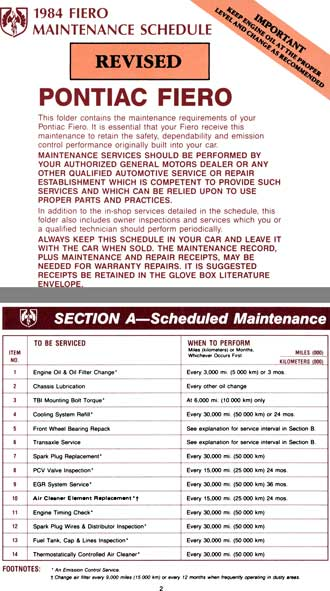 Fiero Pontiac 1984 - 1984 Fiero Maintenance Schedule - Revised