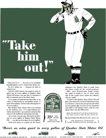 Quaker Oil 1929 - Quaker Oil Ad - Take him out! There's an extra quart in every gallon of Quaker Sta