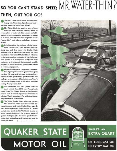 Quaker State 1931 - Quaker State Ad - So you can't stand speed, Mr. Water-Thin? Then, Out You Go!