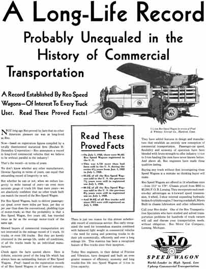 REO 1929 - REO Speed Wagon Ad - A Long Life Record Probably Unequaled in the History of Commercial
