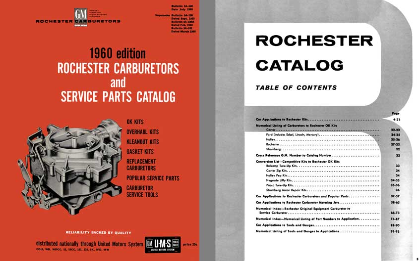 GM Rochester Carburetors 1960 - 1960 Rochester Carburetors and Service Parts Catalog