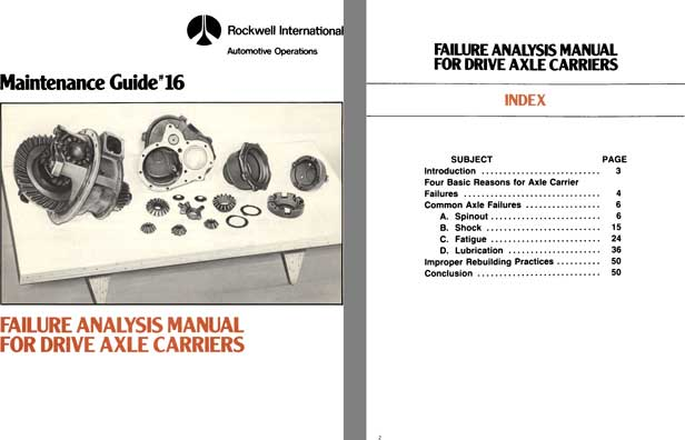 Rockwell International 1979 - Maintenance Guide #16 Failure Analysis Manual For Drive Axle Carriers