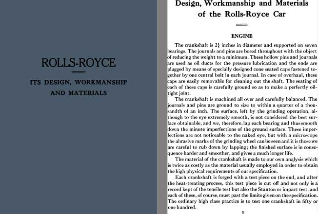 Rolls Royce 1922 - Rolls Royce - Its Design, Workmanship, and Materials