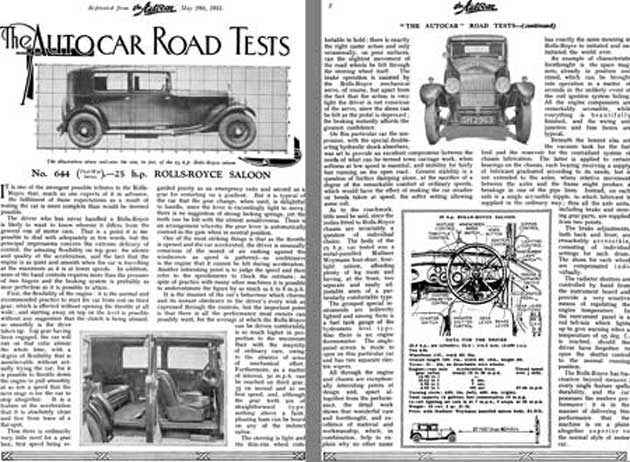 Rolls Royce 1931 - The AutoCar Road Tests No. 644 25 HP Rolls Royce Saloon