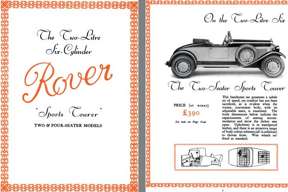 Rover 1929 - The Two Litre Six Cylinder Rover Sports Tourer - Two & Four Seater Models