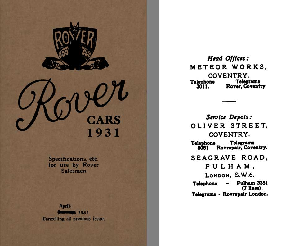 Rover 1931 - Rover Cars 1931 - Specifications, etc. for use by Rover Salesmen