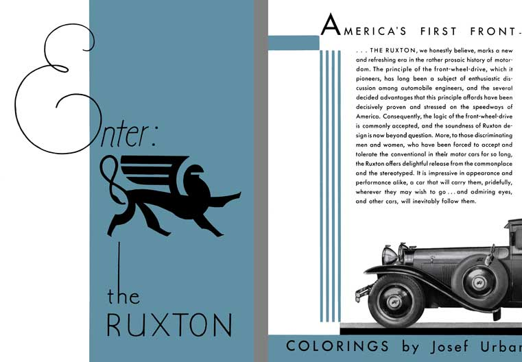 Ruxton 1930 - Enter the Ruxton - America's First Front Wheel Drive Motor Car