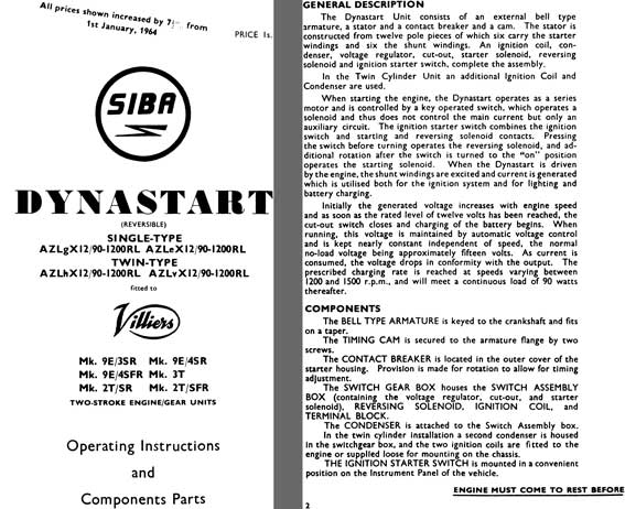 SIBA Dynastart 1964 - SIBA Dynastart Operating Instructions and Component Parts Single & Double Type
