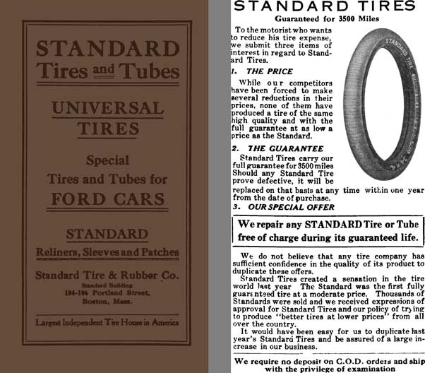 Standard Tires and Tubes 1913 - Universal Tires - Special Tires and Tubes for Ford Cars
