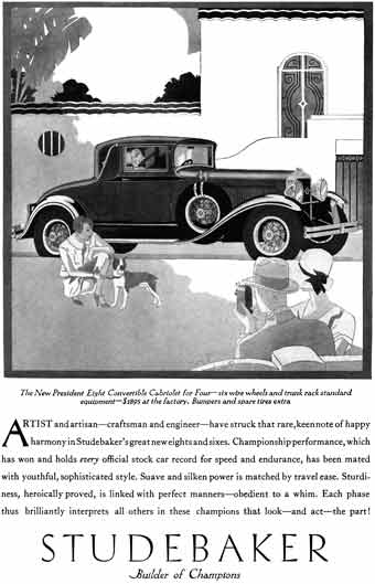 Studebaker 1929 - Studebaker Ad - The New President Eight Convertible Cabriolet for Four