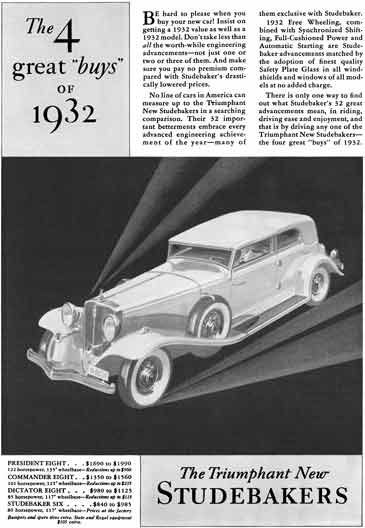 Studebaker 1932 - Studebaker Ad - The 4 great buys of 1932 - The Triumphant New Studebakers