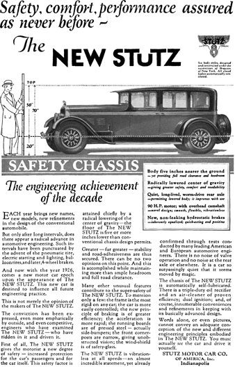 Stutz 1926 - Stutz Ad - Safety, comfort, performance assured as never before - The New Stutz