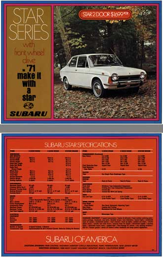 Subaru 1971 - Star Series with Front Wheel Drive in '71 Make it with a Star Subaru