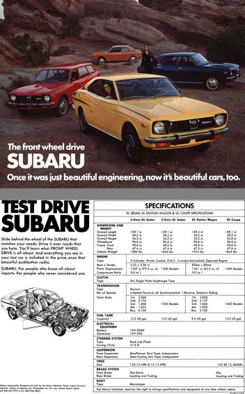 Subaru (c1973) - The Front Wheel Drive Subaru - Once it was just beautiful engineering, now it's bea