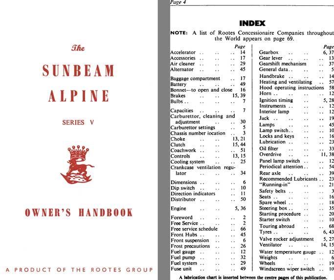 Sunbeam Alpine Series V Owners Handbook c1965