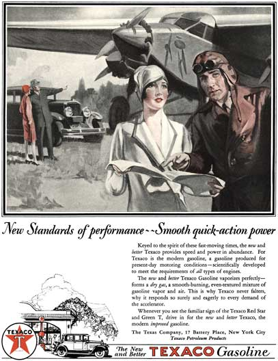 Texaco 1928 -Texaco Ad - New Standards of performance ~~ Smooth quick-action power