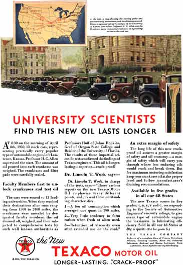 Texaco Motor Oil 1930 - Texaco Ad - University Scientists Find This New Oil Lasts Longer