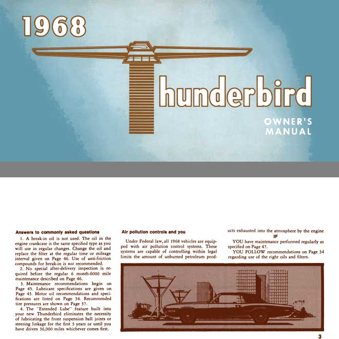 Ford Thunderbird 1968 - 1968 Thunderbird Owner's Manual