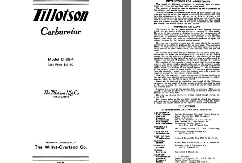 Tillotson 1925 - Tillotson Carburetor Model C 85-4 (Mfg for Willys Overland Co)
