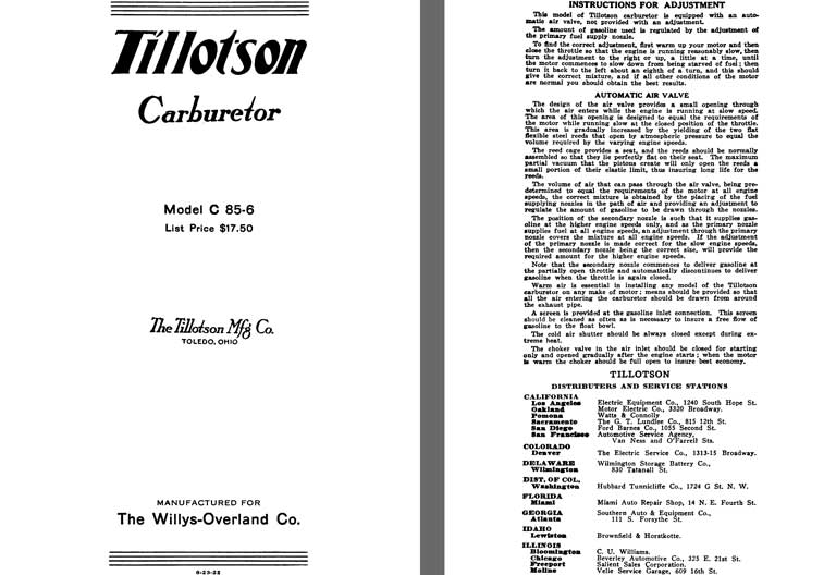 Tillotson 1925 - Tillotson Carburetor Model C 85-6 (Mfg for Willys Overland Co)