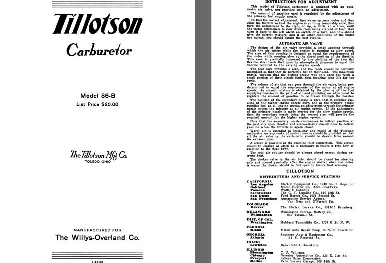 Tillotson 1925 - Tillotson Carburetor Model 86-B (Mfg for Willys Overland Co)