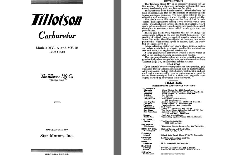 Tillotson 1925 - Tillotson Carburetor Models MV-1A & MV-1B (Mfg for Star Motors, Inc.)