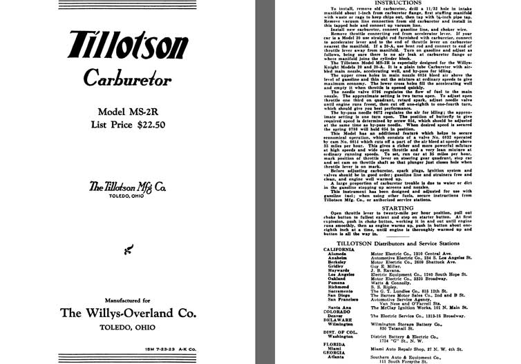 Tillotson 1925 - Tillotson Carburetor Model MS-2R (Mfg for Willys Overland Co)