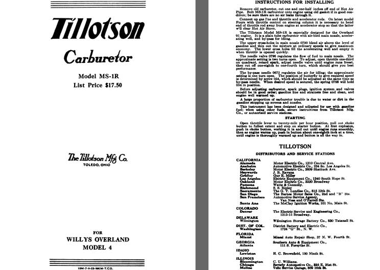 Tillotson 1925 - Tillotson Carburetor Model MS-1R (Mfg for Willys Overland Co)