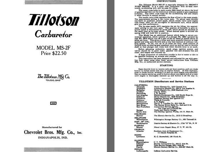Tillotson 1925 - Tillotson Carburetor Model MS-2F (Mfg for Chevrolet Bros. Mfg Co Inc)