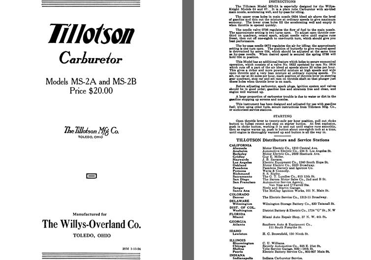 Tillotson 1925 - Tillotson Carburetor Models MS-2A & MS-2B (Mfg for Willys Overland Co)