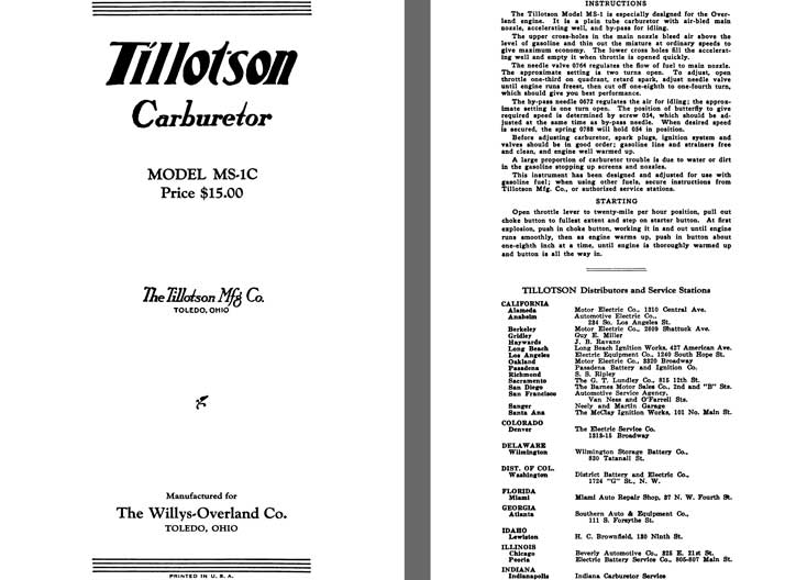 Tillotson 1925 - Tillotson Carburetor Model MS-1C (Mfg for Willys Overland Co)