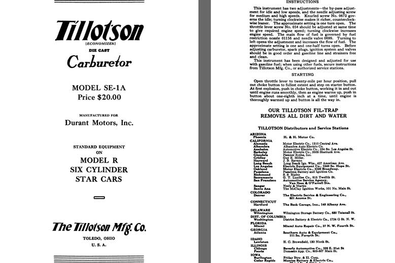 Tillotson 1926 - Tillotson Carburetor Model SE-1A (Mfg for Durant Motors, Inc.)