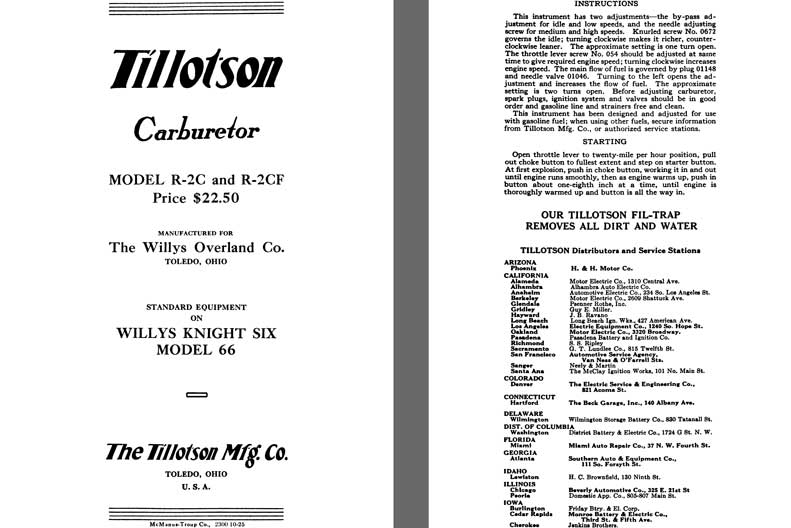 Tillotson 1926 - Tillotson Carburetor Model R-2C & R-2CF  (Mfg for Willys Overland Co.)