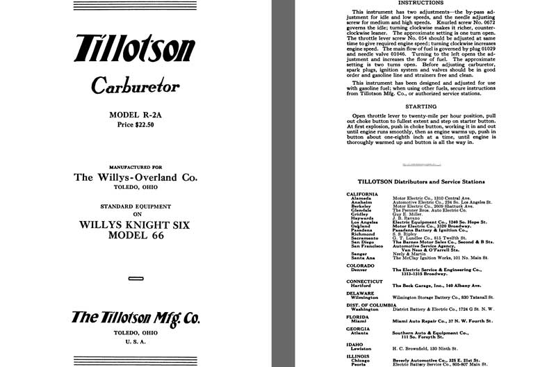 Tillotson 1926 - Tillotson Carburetor Model R-2A (Mfg for Willys Overland Co)