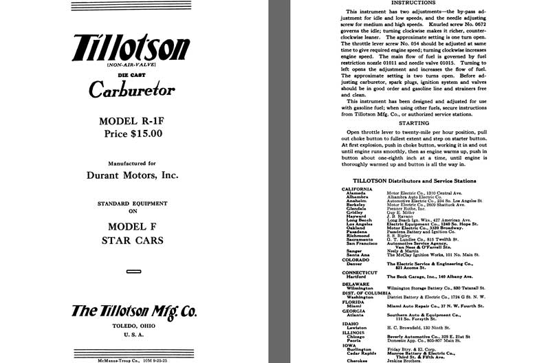 Tillotson 1926 - Tillotson Carburetor Model R-1F (Mfg for Durant Motors, Inc.)