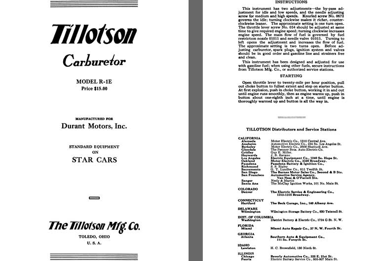 Tillotson 1926 - Tillotson Carburetor Model R-1E (Mfg for Durant Motors, Inc.)