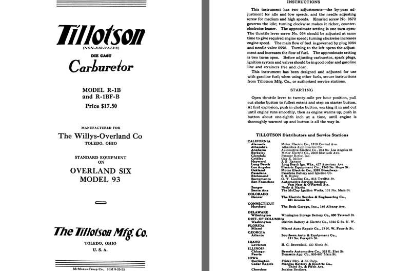 Tillotson 1926 - Tillotson Carburetor Model R-1B & R-1BF-B (Mfg for Willys Overland Co)