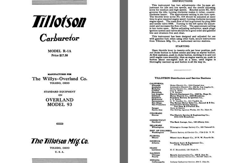 Tillotson 1926 - Tillotson Carburetor Model R-1A (Mfg for Willys Overland Co)