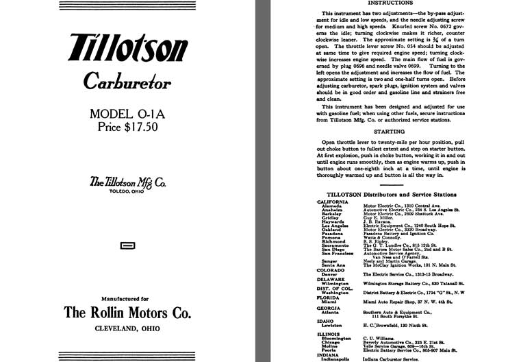 Tillotson 1926 - Tillotson Carburetor Model O-1A (Mfg for Rollin Motors Co)