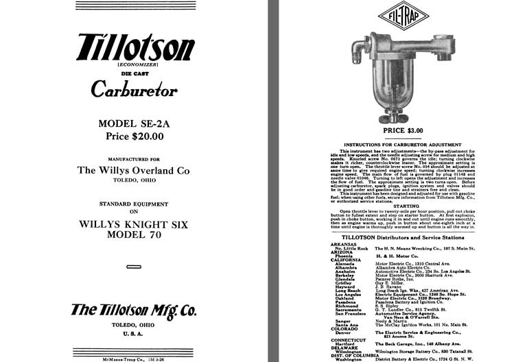 Tillotson 1926 - Tillotson Carburetor Model SE-2A (Mfg for Willys Overland Co)
