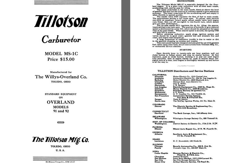 Tillotson 1926 - Tillotson Carburetor Model MS-1C (Mfg for Willys Overland Co)
