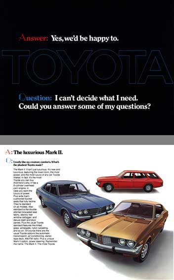 Toyota 1973 - Toyota Answer: Yes, we'd be happy to.  Question: I can't decide what I need.