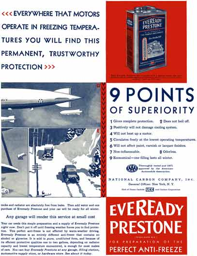 Union Carbide 1929 - Eveready Prestone Ad - Everywhere that Motors Operate in Freezing Temperatures
