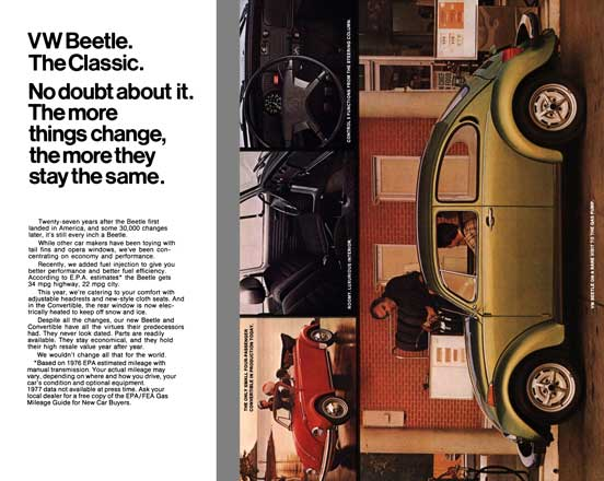 Volkswagen 1976 - VW Beetle. The Classic. No doubt about it.