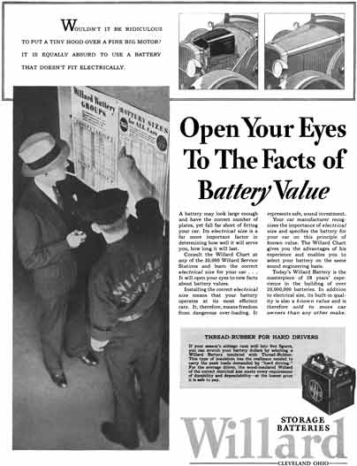 Willard 1929 - Willard Storage Batteries Ad - Open Your Eyes To The Facts of Battery Value