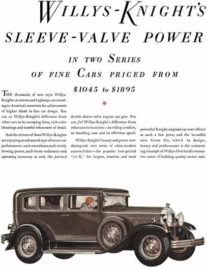 Willys-Knight 1929 - Wills-Knight Ad - Willys-Knight's Sleeve-Valve Power in Two Series of Fine Cars
