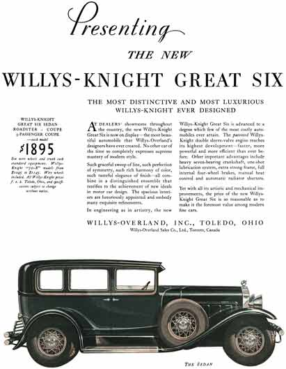 Willys-Knight 1929 - Willys Ad - Presenting the New Willys-Knight Great Six