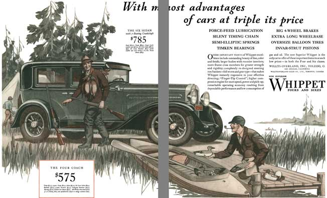 Willys-Overland 1929 - Willys Ad - With most advantages of cars at triple its price - Whippet 4 & 6